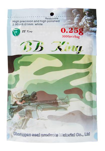 Airsoft. guličky BB King kal. 6mm 0,25g /3000ks